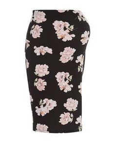 Maternity Black Floral Print Overbump Tube Skirt | New Look