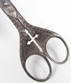 Antique Sewing Scissors - Germany - Gothic Cross