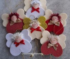 The Charm of Home: Inspiration for Christmas na Stylowi. Angel Crafts, Christmas Projects, Felt Crafts, Holiday Crafts, Holiday Decor, Christmas Angel Ornaments, Felt Christmas Decorations, Felt Ornaments, Christmas Sewing