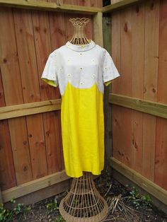 1960's Yellow Day Dress Sakowitz-Vogue Special Design Size M by MyKitschyCloset on Etsy--$38.99