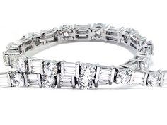 Round & Baguette Diamond Tennis Bracelet
