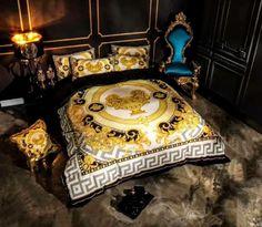 Versace Bedding, Black Gold Bedroom, Welcome Home Decorations, Crystal Bedroom, Hypebeast Room, Aztec Decor, Designer Bed Sheets, Versace Home, Duvet Bedding Sets