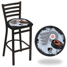 Philadelphia Flyers Black NHL D2 Stationary Ladder Back Bar Stool. Available in 25-inch and 30-inch seat heights. Visit SportsFansPlus.com for details.