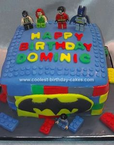 Homemade Batman Lego Cake: This Batman Lego cake was pretty easy to make. I used an 8 inch square pan, made 3 marble cakes, then chocolate butter cream filling. I made my own fondant