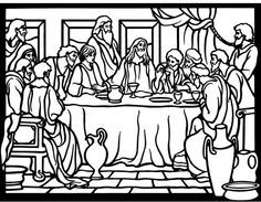 coloring pages last supper   The Last Supper for Holy Thursday Lent Coloring Page ...