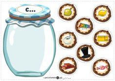 Słój z ciasteczkami z głoską [c] - pozycja głoski w wyrazie - Printoteka.pl