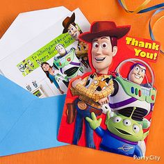 Add a special touch to thank you notes including photos of your Toy Story fan's pals at the party.