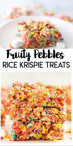 Fruity Pebbles Rice Crispy Treats Recipe, Homemade Rice Krispies Treats, Recipes With Fruity Pebbles, Best Rice Krispie Treats Recipe, Rice Krispie Bars, Delicious Desserts, Yummy Food, Cereal Treats, Sweet Recipes