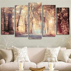 5pcs Wall Art Canvas Painting Printed Landscape Autumn Leaves Modular Pictures Posters Home Decoration For Living Room No Framed
