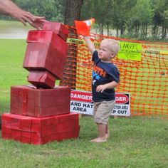 We had a construction area with boxes painted like bricks for the boys to stack