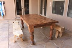Refinished outdoor patio table.