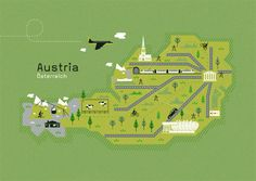 Maps and locations illustrations by Adam Quest, via Behance