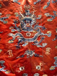 Child's Robe China Qing Dynasty 19th century embroidered satin Detail