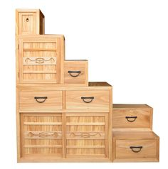 Step Tansu asian-storage-bins-and-boxes Japanese Furniture, Asian Furniture, Oriental Furniture, Stair Storage, Storage Boxes, Tiny House Loft, Tiny Houses, Stair Plan, Small Galley Kitchens