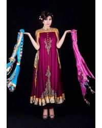 Maroon Crinckle Embroidered Anarkali Suit