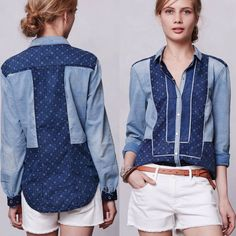 Anthropologie Holding Horses Patchwork Chambray Shirt Denim Blouse Western Top 4 #Anthropologie #ButtonDownShirt #Casual