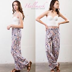 Floral Palazzo Pants  So cute and perfect for Spring! I have 1 S, 1 M and 1 L in stock. Comment with questions  April Spirit Pants Wide Leg