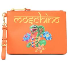 Moschino Clutch (€130) ❤ liked on Polyvore featuring bags, handbags, clutches, orange, orange handbags, zip purse, moschino handbags, red purse and zipper handbags