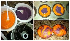 Clemson Tiger cupcakes - use white cake mix and add a few drop of food coloring until desired colors are reached. Then fill muffin cups 1/3 of the way (if using 2 colors) with each color. Use toothpick to slightly swirl each cup of batter. Then bake as directed.