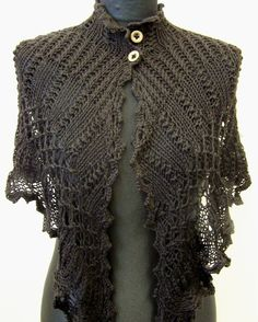 I purchased a copy of this beautiful pattern. I am working on it now!!   knitted capelet black VIOLETTA van Wollarium op  Etsy