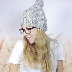 7b32b26637a Chunky Cable Knit Pom Pom Winter Beanie Hat for Women in Grey Marble