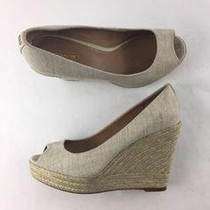 0dda1eb6c99b5 Coach Milan Size 9 B Linen Met Espadrille Wedge Platform Sandals Open Toe  Pumps  Coach