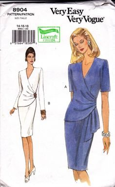 Vogue 8904 Side Draped Dress Pattern 1990s Vintage Sewing Pattern Size 14 16 18 UNCUT Factory Folds