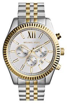 MICHAEL MICHAEL KORS Michael Kors 'Large Lexington' Chronograph Bracelet Watch, 45mm. #michaelmichaelkors #