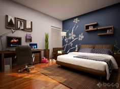 grey and blue accent wall