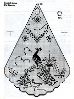 Crochet Table Topper, Crochet Tablecloth Pattern, Crochet Curtains, Crochet Doily Patterns, Crochet Motif, Crochet Doilies, Peacock Crochet, Crochet Birds, Thread Crochet