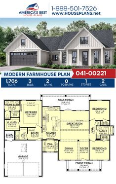 Modern Farmhouse Plan Looking for a great plan under sq. Get to know Plan a classic Modern Farmhouse detailing House Plans One Story, Family House Plans, Ranch House Plans, Best House Plans, Craftsman House Plans, Dream House Plans, Small House Plans, Dream Houses, Ranch Floor Plans