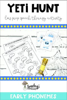 """The therapy planning is done for you with this game. This resource is easy to prep, provides gross motor breaks, and is a simple, engaging way to get a ton of articulation trials. Hide the 10 yetis around the room and have your students find them. Each yeti corresponds to one target word or language concept- something the yeti 'ate'. Your student must practice their word or concept in order to """"catch"""" the yeti! They will seriously have a blast with this resource! #slp #tpt #tptresources Articulation Therapy, Articulation Activities, Speech Activities, Speech Therapy Activities, Language Activities, Toddler Activities, Phonological Awareness Activities, Phonological Processes, Christmas Activities For Kids"""