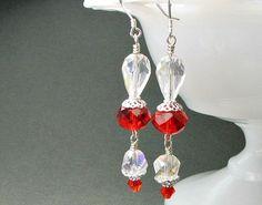 Red crystal earrings Swarovski crystals sterling by earringsbylulu, $18.00
