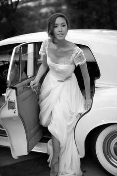 Chriselle Lim's bridal look.  Custom gown, Gucci stilettos + a vintage Rolls Royce