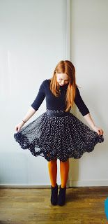 polka dot ruffle skirt ootd