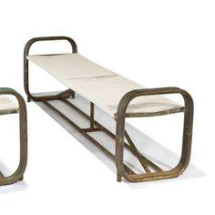Walter Lamb; Tubular Metal and Cord Bench, c1950.