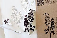 Protea flower stamp by Geninne Zlatkis