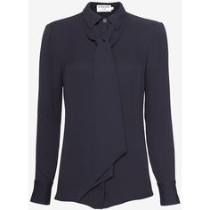 FRAME Neck Tie Collared Blouse: Navy (3 895 ZAR) ❤ liked on Polyvore featuring tops, blouses, navy, blue long sleeve blouse, navy blue blouse, silk tie neck blouse, navy blouse and silk neck ties