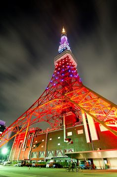 Travel Asian Japan night TokyoTower ver.Arashi color