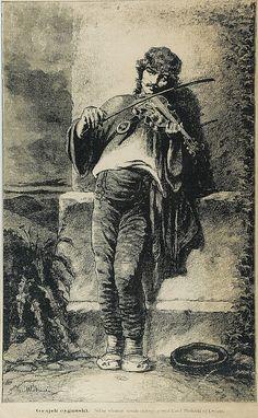 Karol MŁODNICKI (1835-1900)  Grajek cygański drzeworyt sztorcowy, papier; 41 x 25 cm (w świetle oprawy); sygn. w kompozycji l. d.: K. Młodnicki poniżej drukowany napis: Grajek cygański. Podłóg własnego obrazu olejnego rysował Karol Młodnicki we Lwowie.