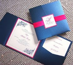 Navy And Fuschia Wedding Invitations