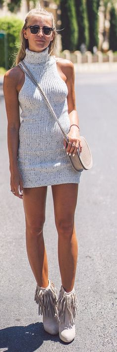 Janni Deler Light Grey Bodycon Turtleneck Knit Little Dres