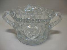 Pres Cut Glass Sugar Bowl Star & Flower Design Saw Tooth Rim Double Handle