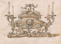 Disegno di centrotavola con arpie che reggono candelieri, 1735