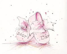 Pink Baby Dior  Art Print 8x10 by claireswilson on Etsy, $25.00
