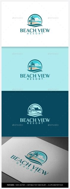 Beach View Resort Logo  EPS Template • Download ➝ https://graphicriver.net/item/beach-view-resort-logo/9949790?ref=pxcr