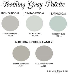 Entire Home Paint Color Ideas. Entire House Color Palette. Benjamin Moore Smoke Embers AC-28, Benjamin Moore Wickham Gray, Benjamin Moore Palladian Blue HC-144, Benjamin Moore Ozark Shadows AC-26, Benjamin Moore San Antonio Gray AC-29. #EntireHousePaintColors #WholeHousePaintColorIdeas #EntireHouseColorPalette Via Poplin and Queen Interiors.