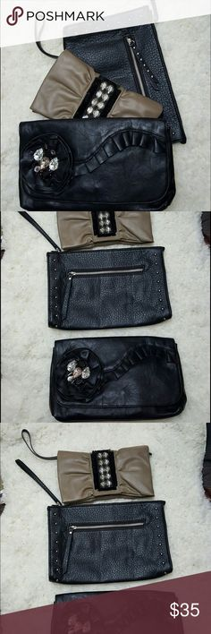 3 clutch bundle Selling as a bundle the tan bejeweled one has a flap button zipper that will hold some cards cash a phone and lipstick and is simply Vera by Vera wang, the black clutch with little studs on the sides is unstructured with a top zip closure so it hold a ton it was bought at target and the black bejeweled one is a flap over with button closure by Jessica Simpson - all were used approximately 1 time on special occasions, no stains or tears on any Jessica Simpson Bags Clutches…