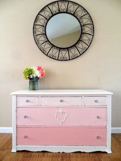 Pink Ombre Dresser @Amber Oatman   This one too!!!  If you find a short, narrow dresser and paint ombre in these colors, I'd totally buy! lol.