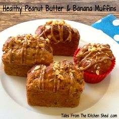 My Healthy Peanut Butter Banana Muffins recipe is a great way to use up over ripe bananas ! A peanut butter lover's healthy treat with a peanut butter drizzle on top. Perfect at any time of the day be it breakfast, a teatime treat or popped into your lunchbox.